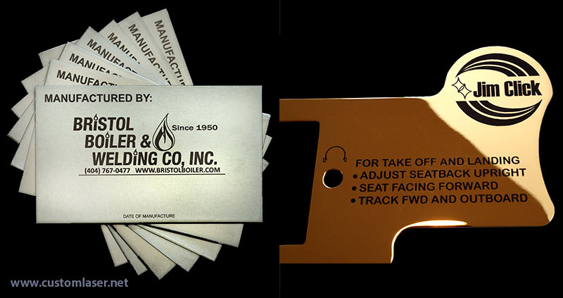 Industrial ID laser tags, signs, and plates.